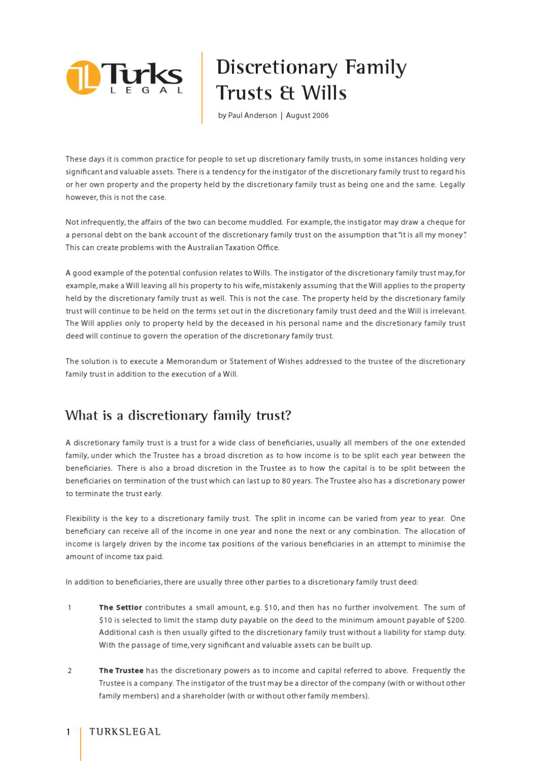 discretionary family trust essay The trustee of a fixed trust has little or no discretion to distribute trust property he  or she cannot  than fixed trusts today, most family trusts are discretionary.