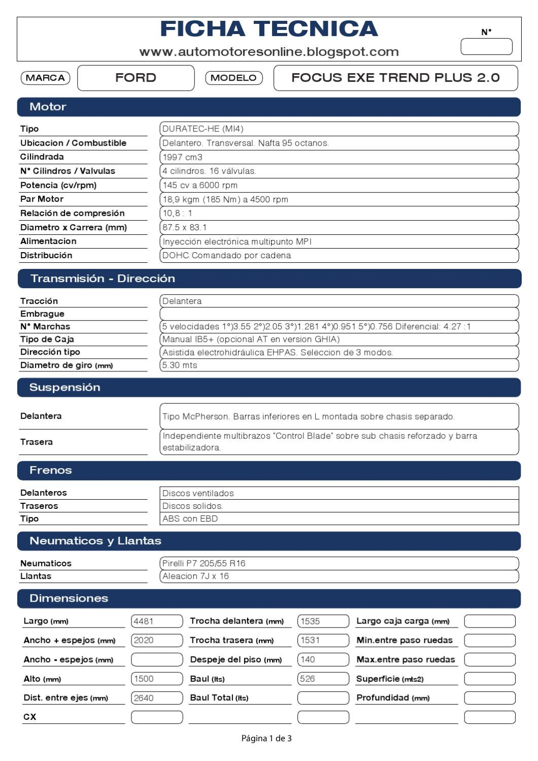 Ford Focus Exe Trend Plus 2 0 N By Automotores Online