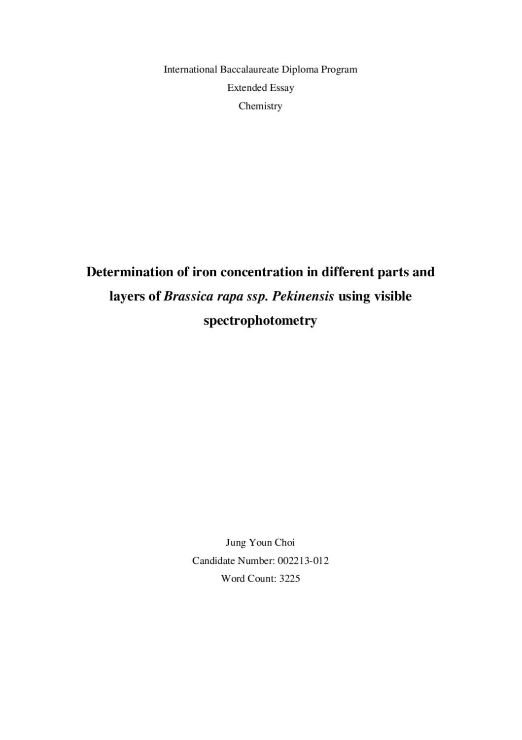 ib ee on spectrophotometric determination of iron in cabbage by ib ee on spectrophotometric determination of iron in cabbage by lawrence kok issuu