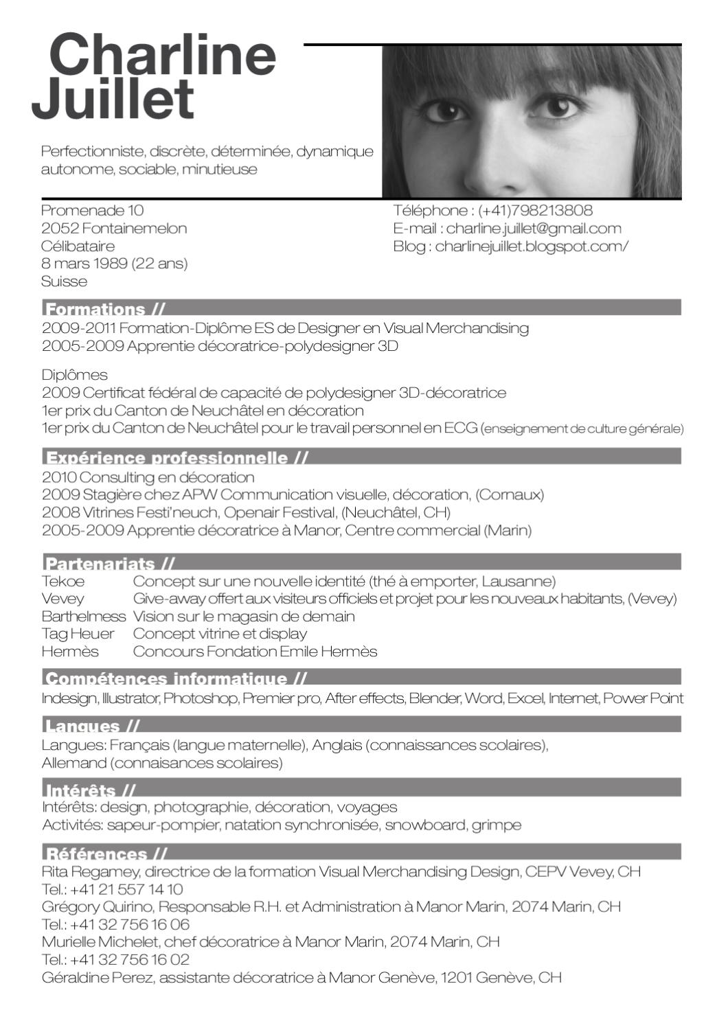 curriculum vitae by charline j