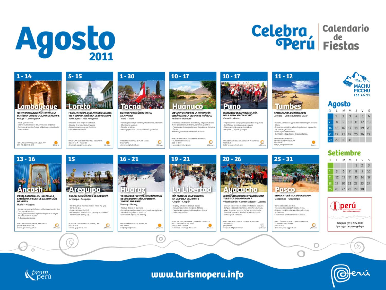 Calendario de fiestas de agosto 2011 by visit peru issuu for Horario peru wellness