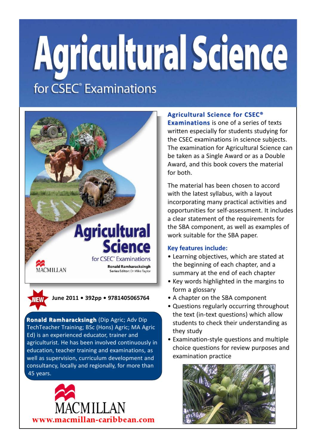 agricultural science sba Free download of the official csec agricultural science single and double award syllabus, specimen paper, mark scheme and and subject reports ebook.