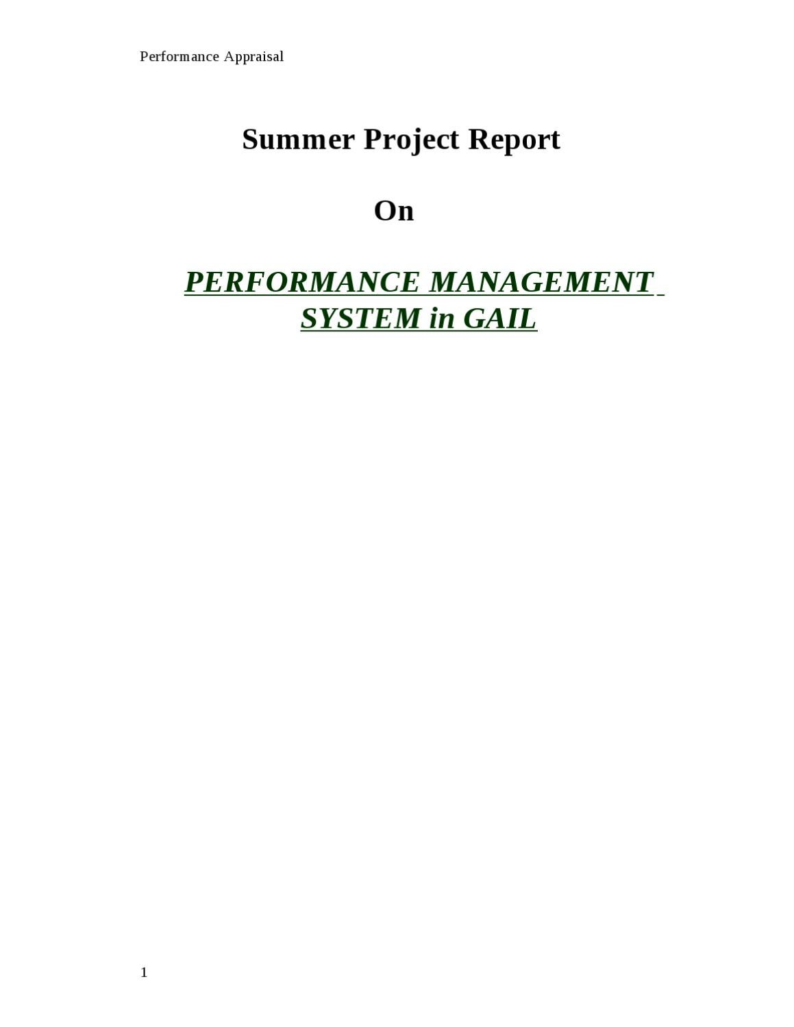 Dissertation report on performance management system