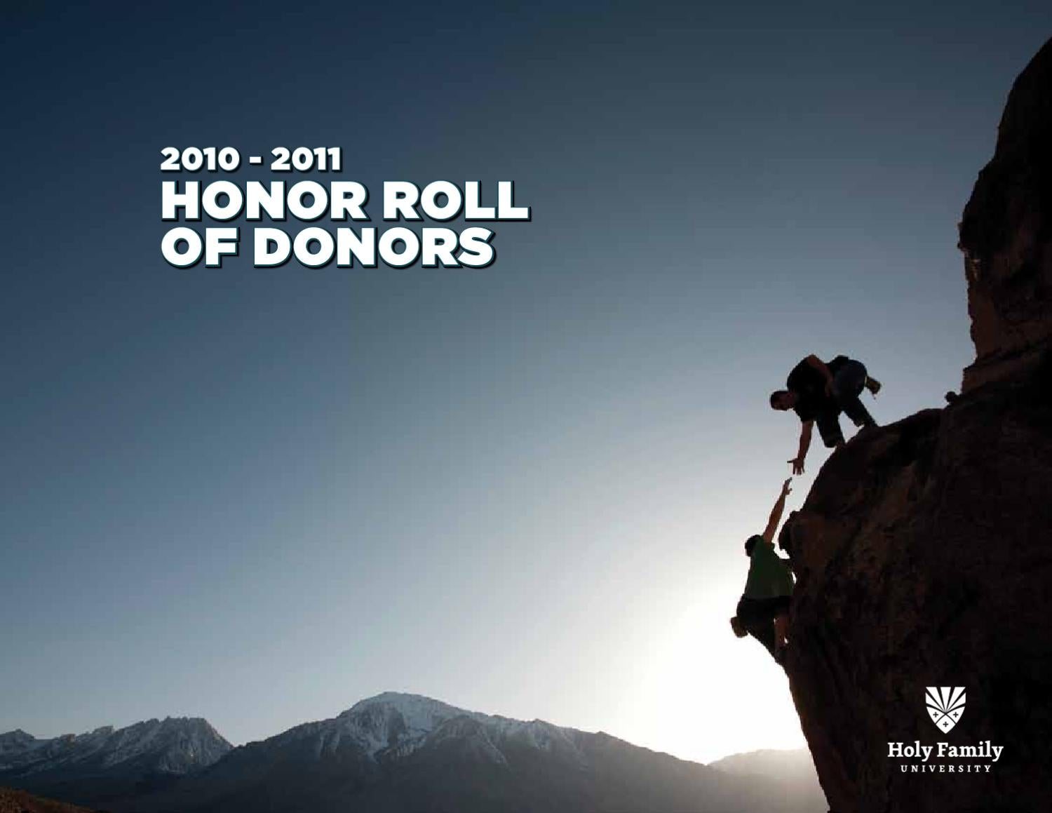 honor roll of donors by holy family university issuu