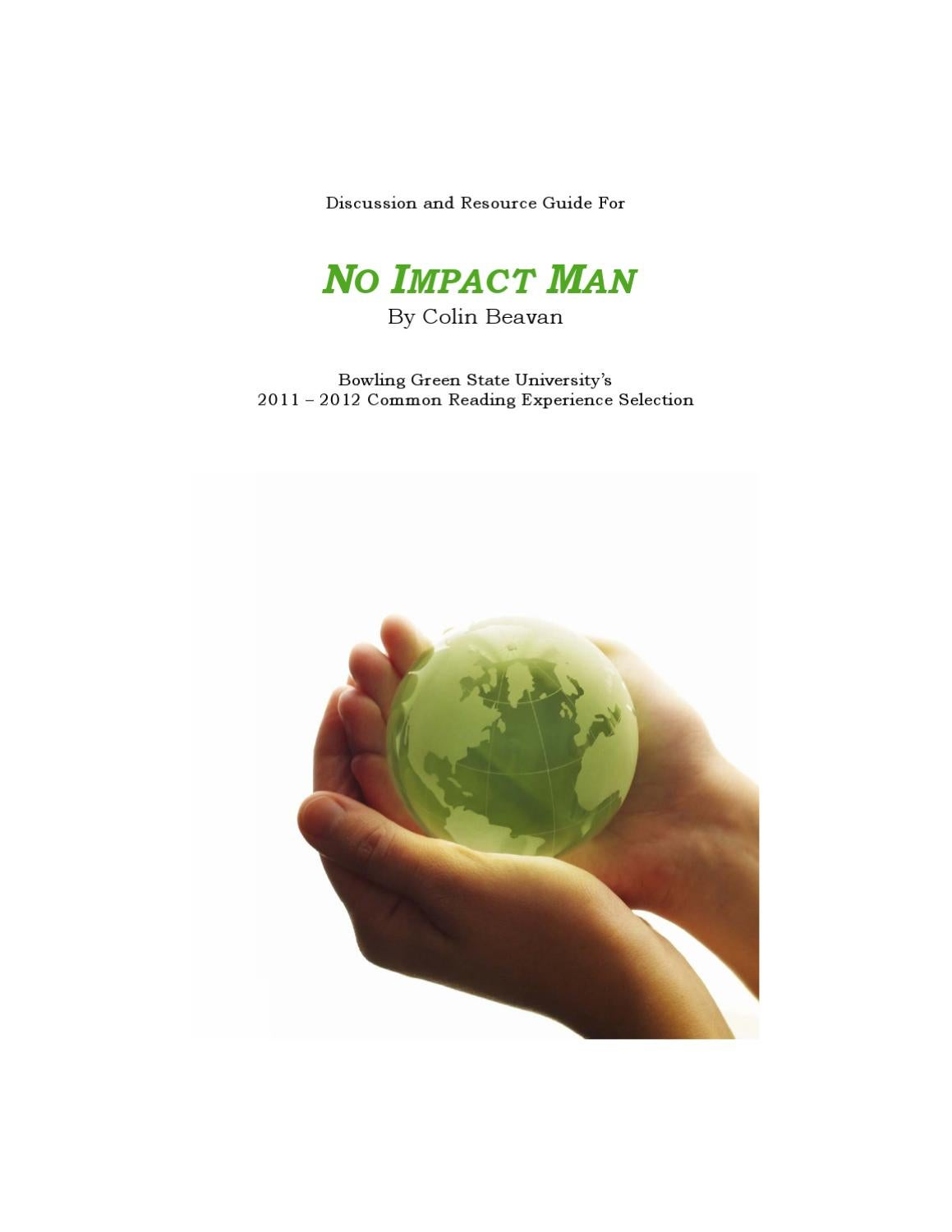 discussion and resource guide for no impact man by bgsu
