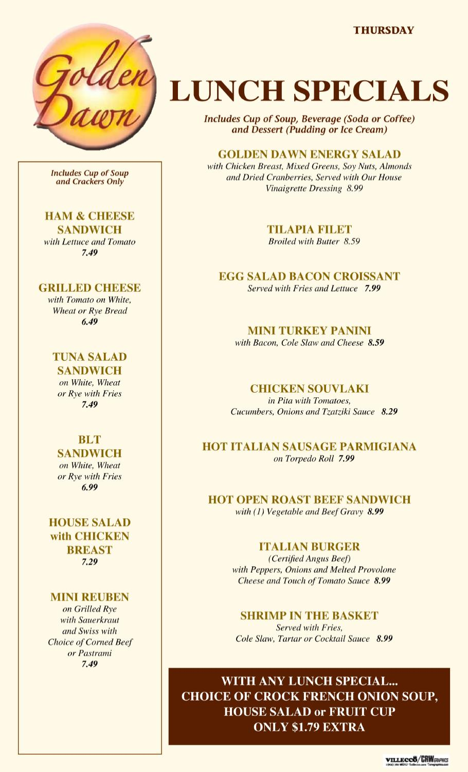 Thursday lunch special 1011 by issuu for Lunch specials