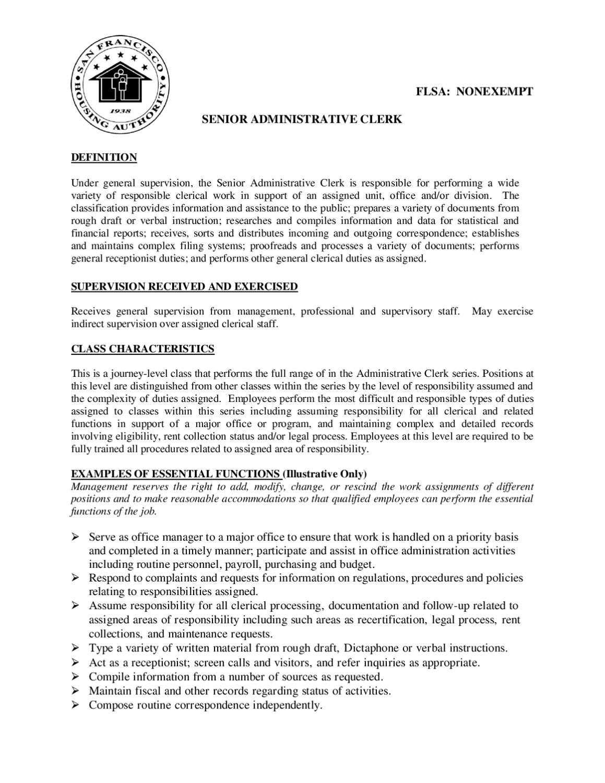 senior admin clerk job description by sfha issuu