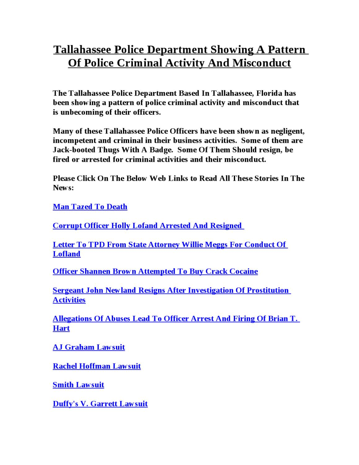 tpd showing a pattern of police criminals by tallahassee observer tpd showing a pattern of police criminals by tallahassee observer issuu