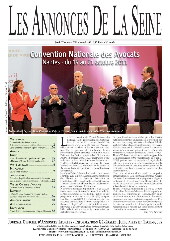 Edition du jeudi 27 octobre 2011 by annonces de la seine - Chambre nationale des huissiers annonces ...