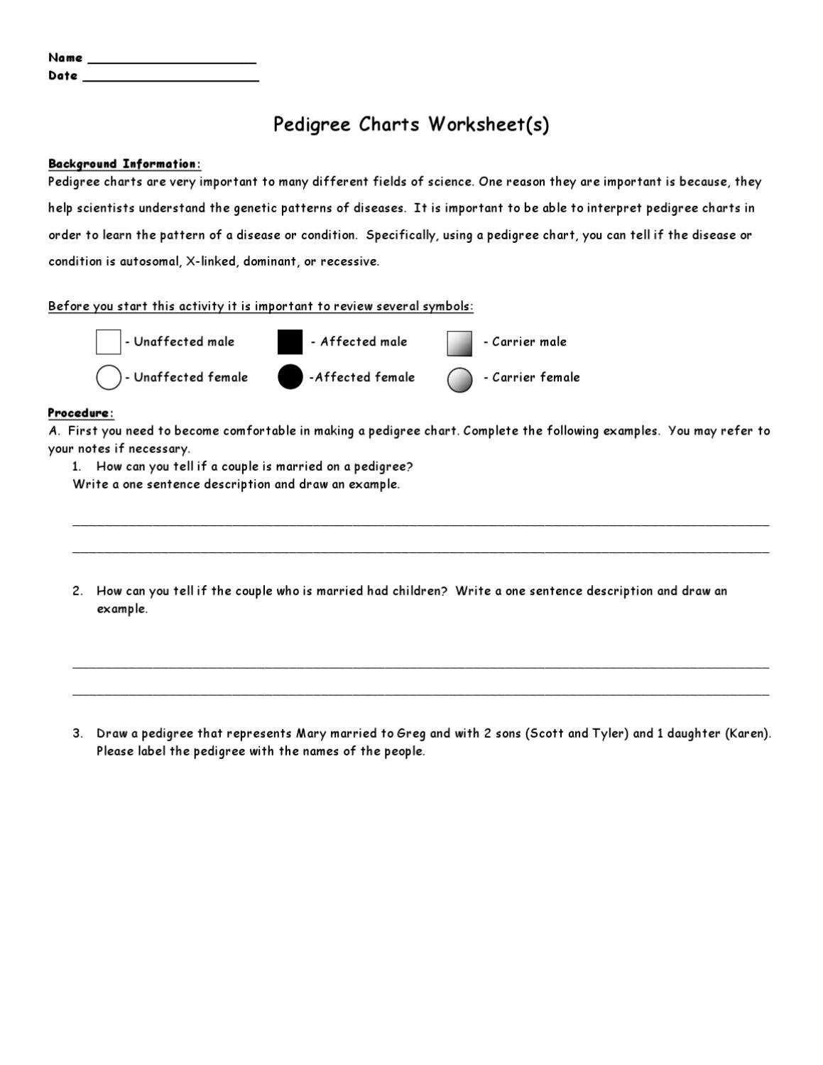 worksheet Pedigree Practice Worksheets Fiercebad Worksheet And – Biology Pedigree Worksheet