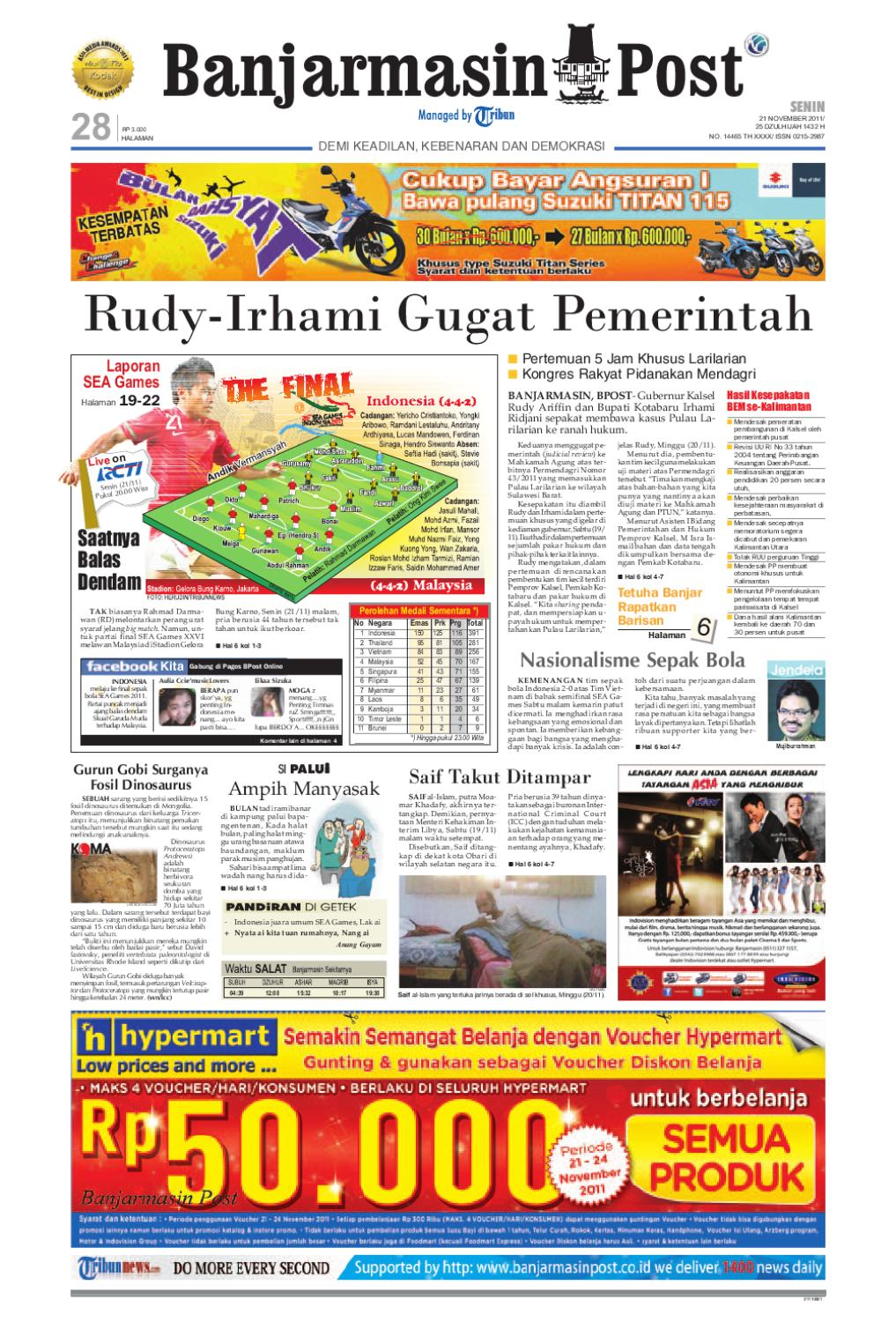 Banjarmasin Post Edisi Cetak Senin 21 November 2011 By Banjarmasin