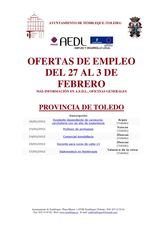 Ofertas de empleo del 27 al 3 de febrero aedl by pedro for Oficina empleo illescas