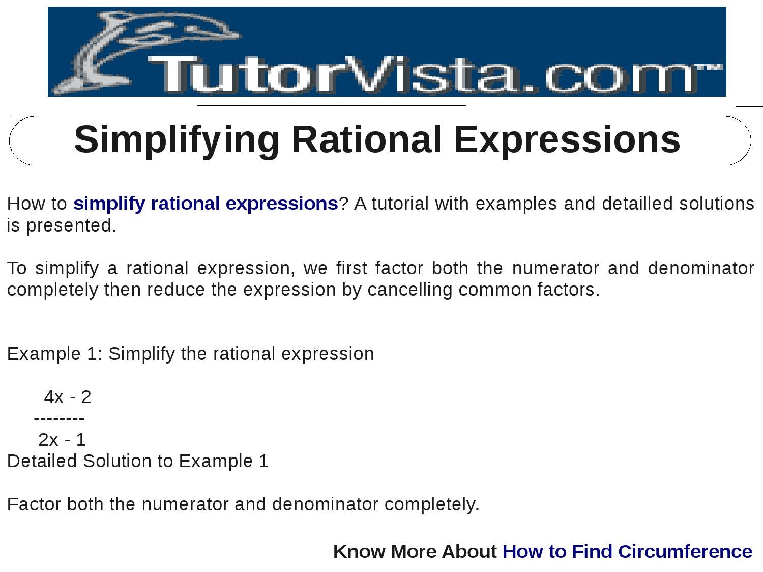 Simplifying Rational Expressions By Tutorvista Team Issuu