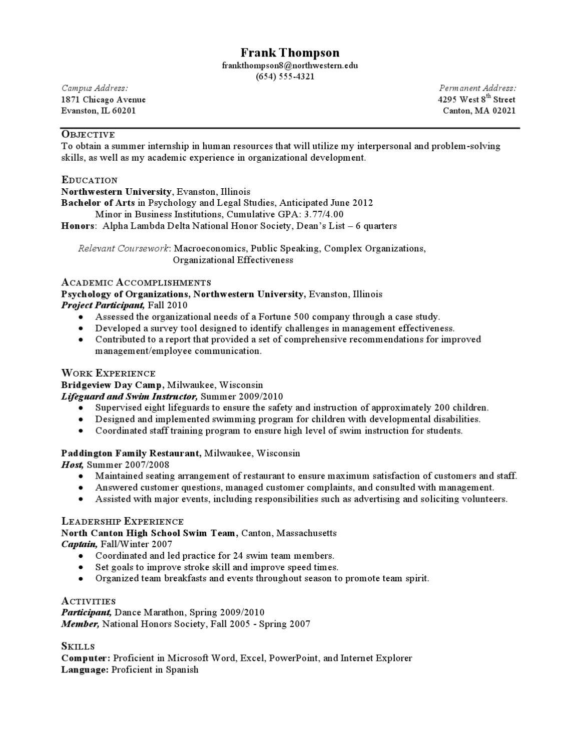 sample university resume northwestern university resume samples internship resume sample less experienced by northwestern university career services page issuu issuu