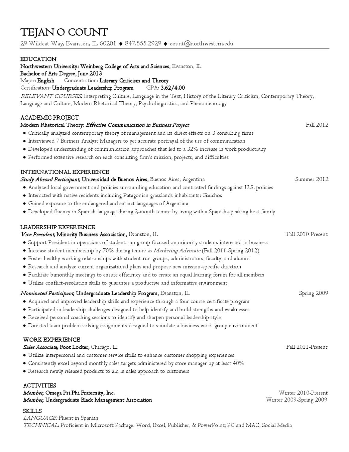 liberal arts resume by northwestern university career services issuu