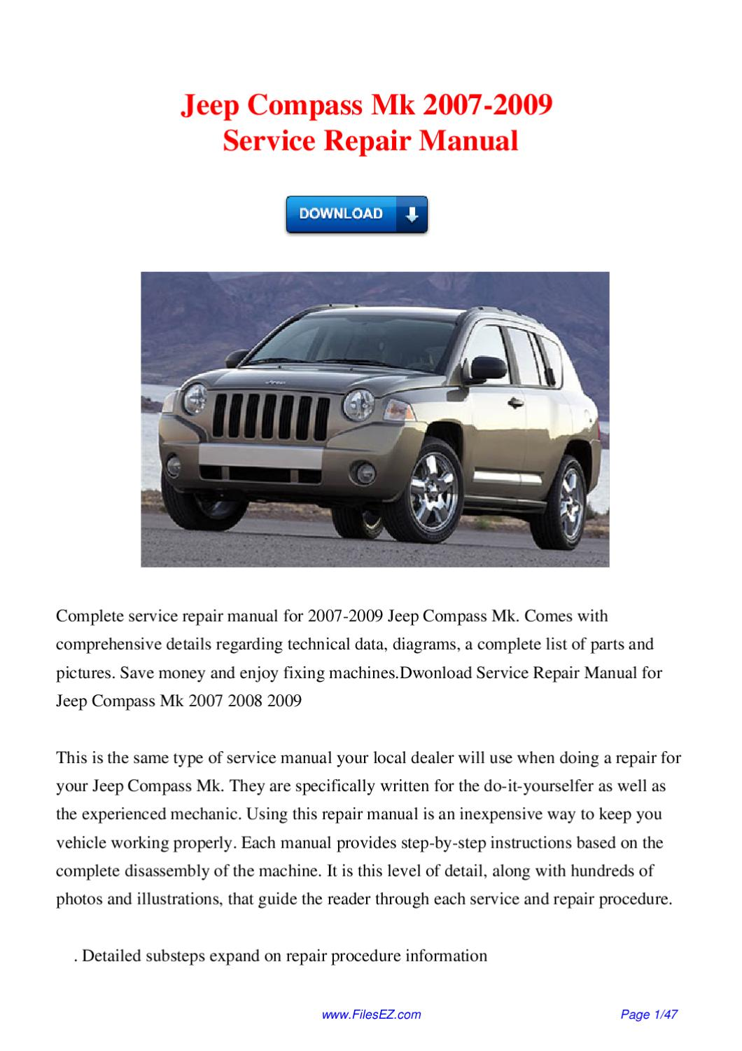 jeep compass mk 2007 2009 service repair manual by david. Black Bedroom Furniture Sets. Home Design Ideas