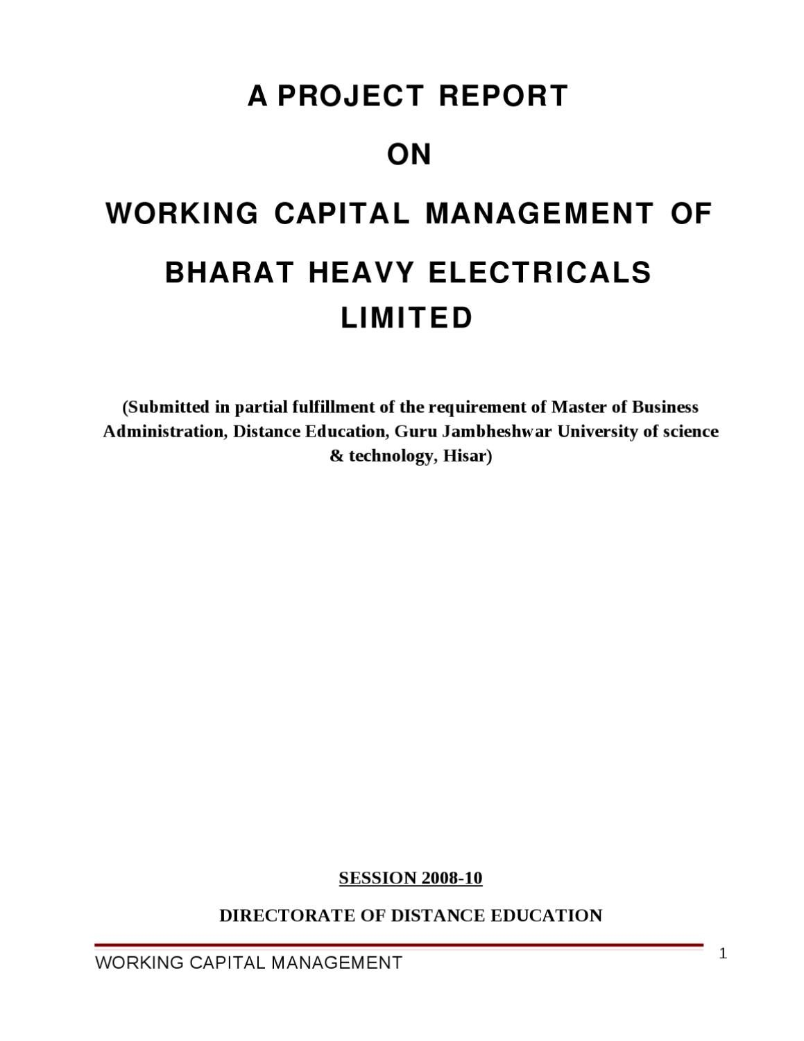 project report on working capital management in hal This finance project report made on study of working download project report on analysis of working capital capital is critical for daily management of.
