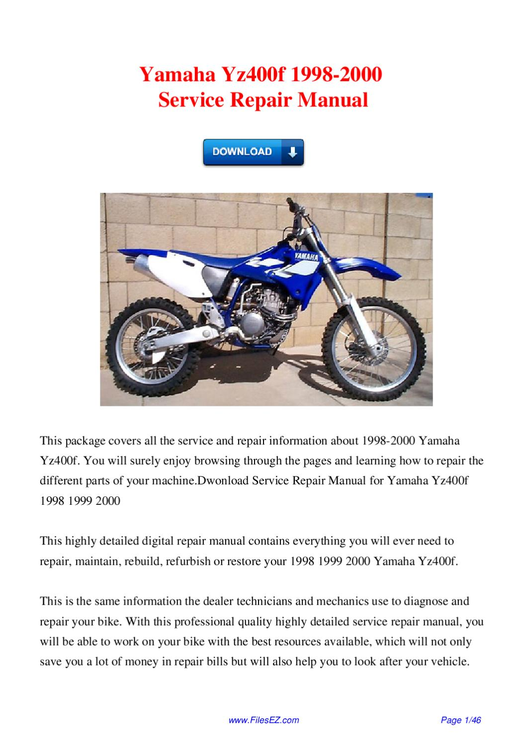 yamaha yz400f 1998 2000 service repair manual by david. Black Bedroom Furniture Sets. Home Design Ideas