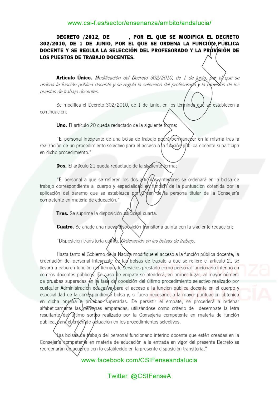 Csif borrador modificacion decreto 302 by csif for Csif ensenanza exterior