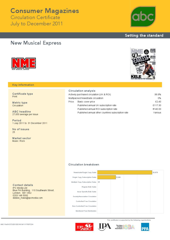 nme circulation figures 2011 audit bureau of circulation. Black Bedroom Furniture Sets. Home Design Ideas