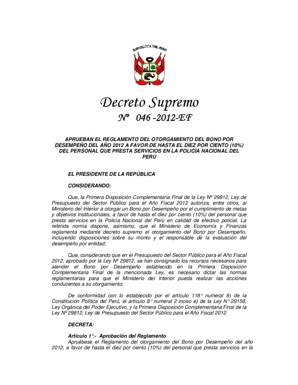 Decreto supremo n 046 2012 ef by grupo la rep blica for Decreto ministerio del interior