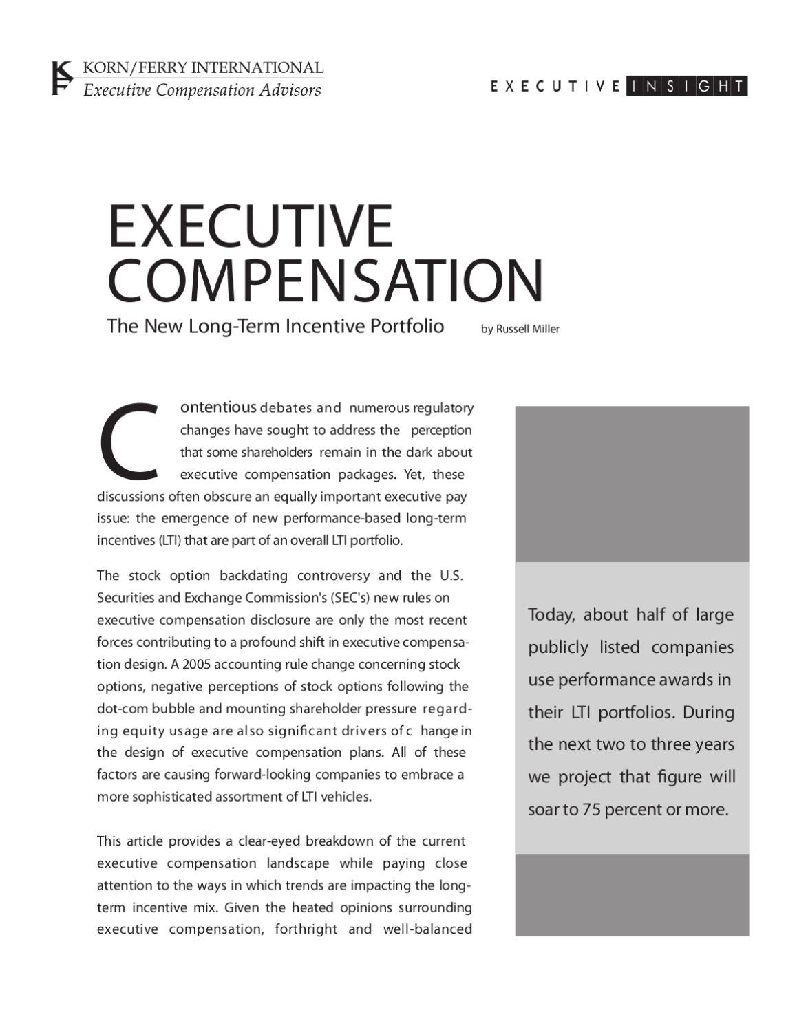 Executive Compensation The New Long Term Incentive Portfolio By Korn Ferry Issuu