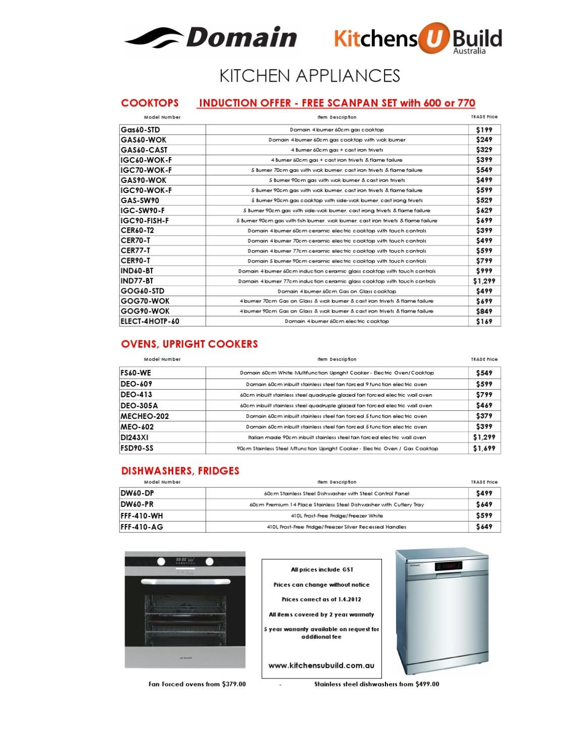 Domain appliance price list 2012 by carol lynne mitchell for Mitchell homes price list