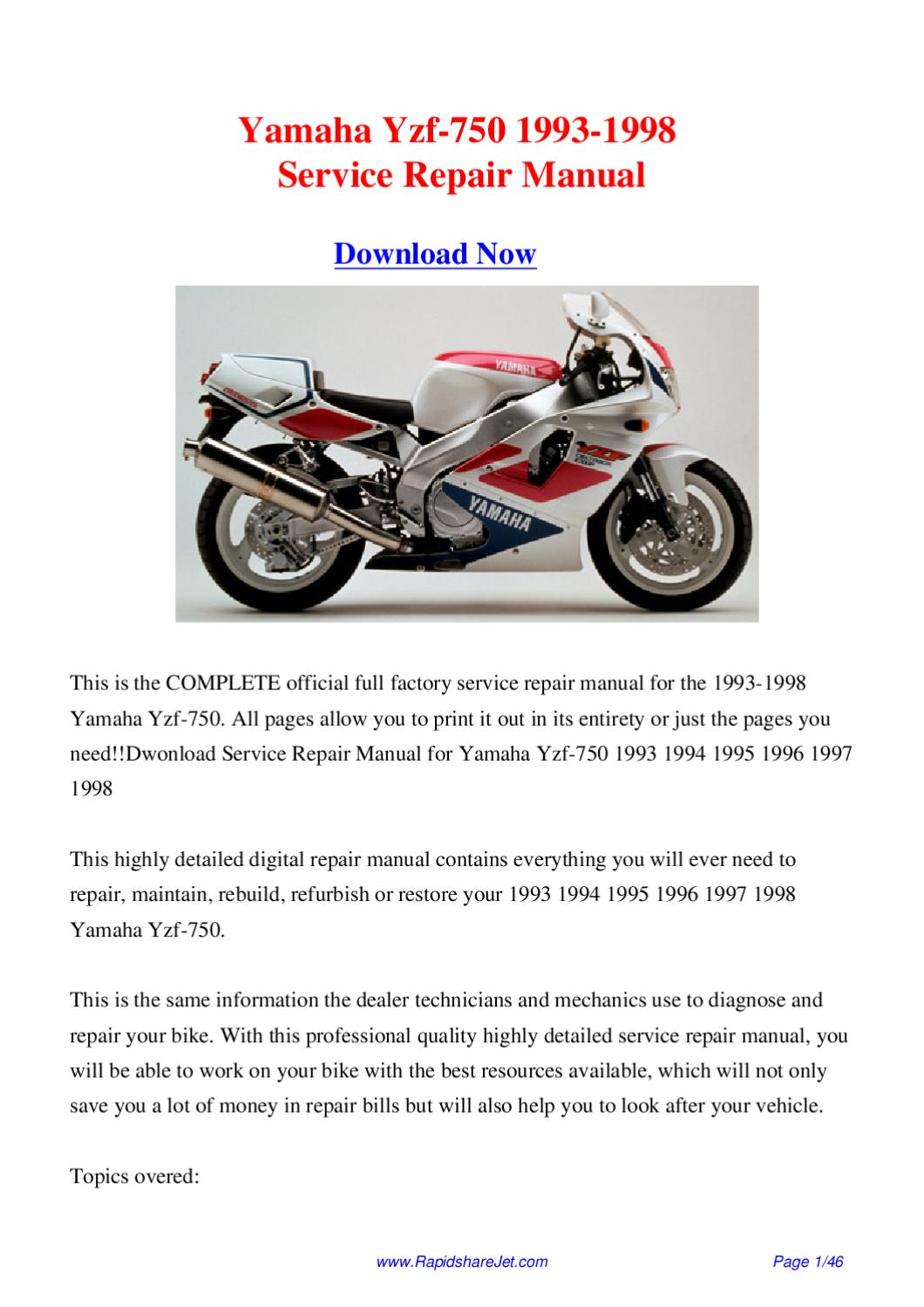 yamaha yzf 750 1993 1998 service repair manual by hong lee. Black Bedroom Furniture Sets. Home Design Ideas