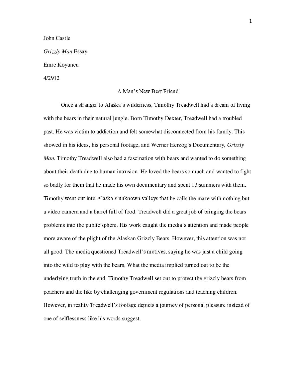 timothy treadwell a transcendentalist by ben kahn issuu revised grizzly man essay
