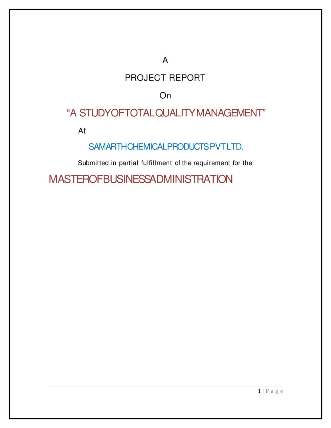 a project report on a study of total quality management at samarth a project report on a study of total quality management at samarth chemical products pvt by sanjay gupta issuu