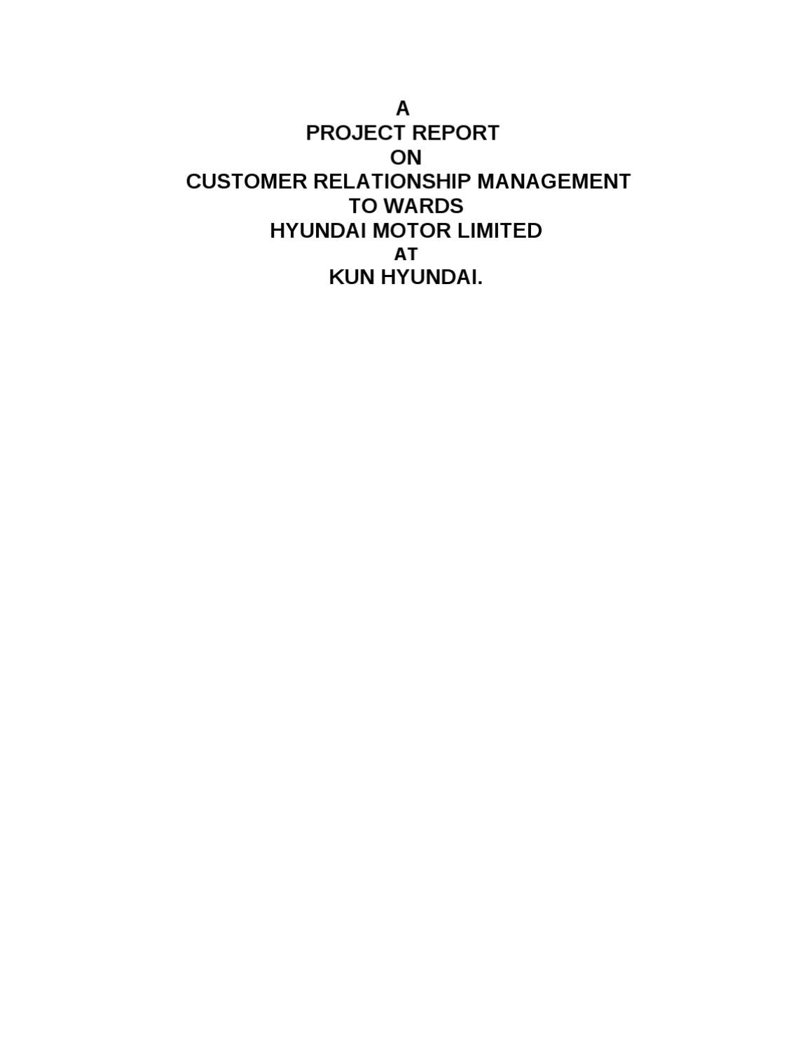 Dissertation report on crm