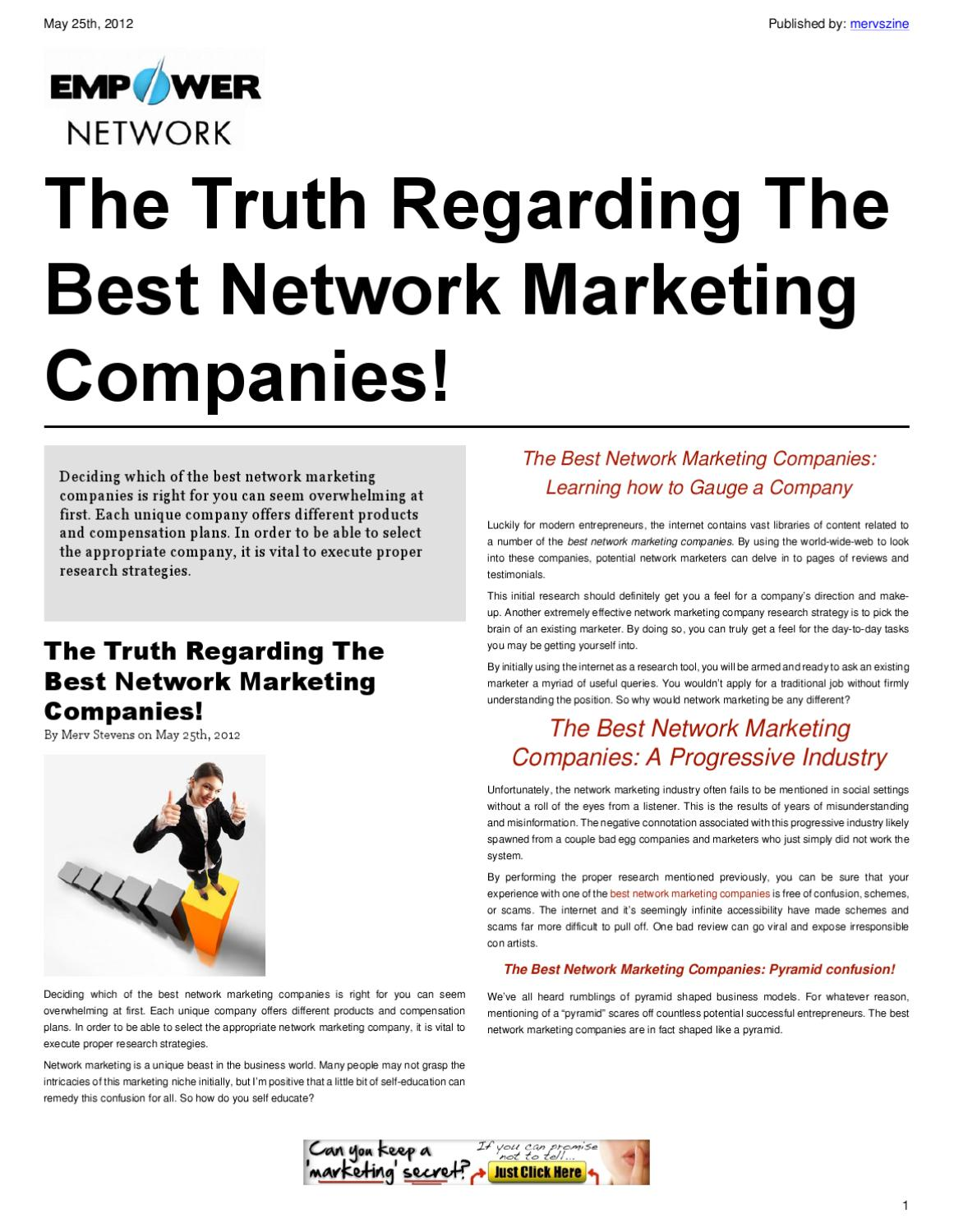 The truth regarding the best network marketing companies for Marketing to builders