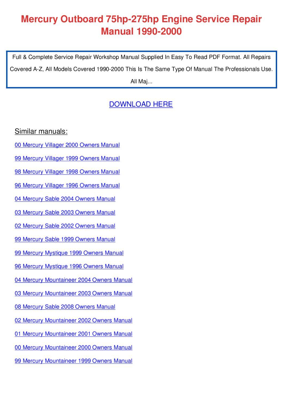 Mercury owners Manual download
