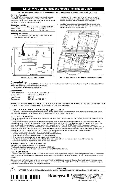 honeywell lynx 5100 user manual