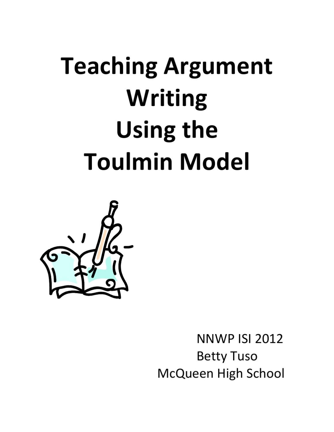 toulmin model essay Toulmin model of argument: the twentieth-century british philosopher stephen toulmin noticed that good, realistic arguments typically will consist of six parts he used these terms to describe the items.