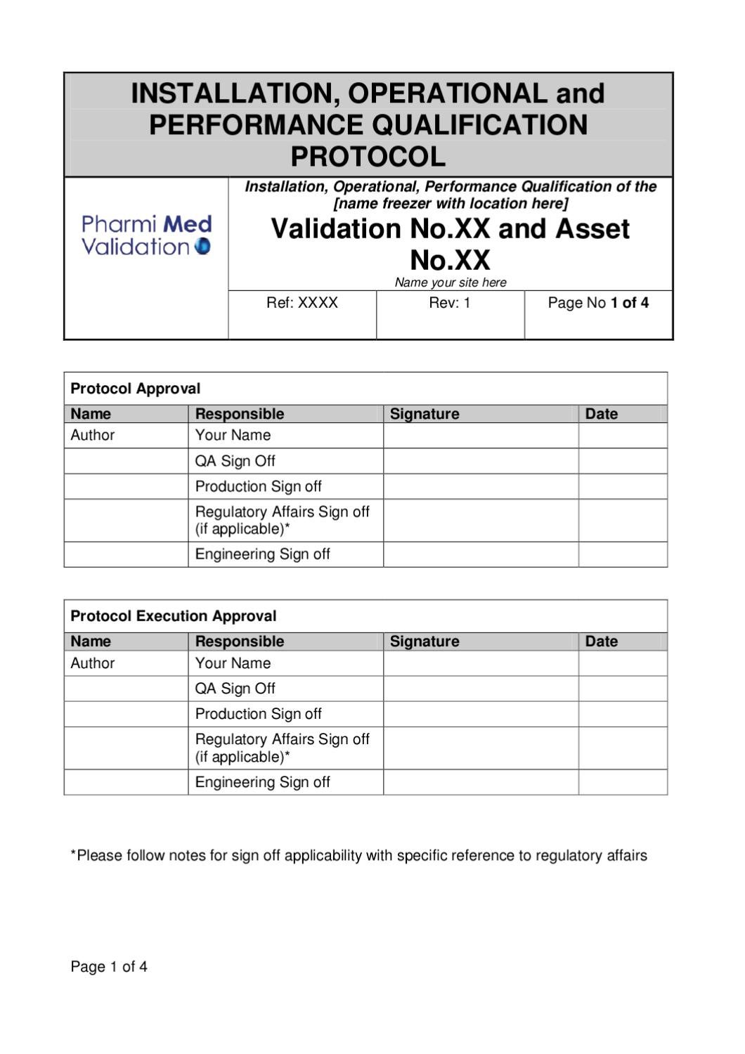 iq oq pq validation templates - iopq freezer validation template sample by pharmi med