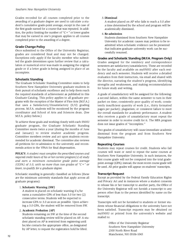 Southern New Hampshire Universtiy Graduate Catalog 20122013 By Southern New  Hampshire University (page 74) Modified Bavarian Formula