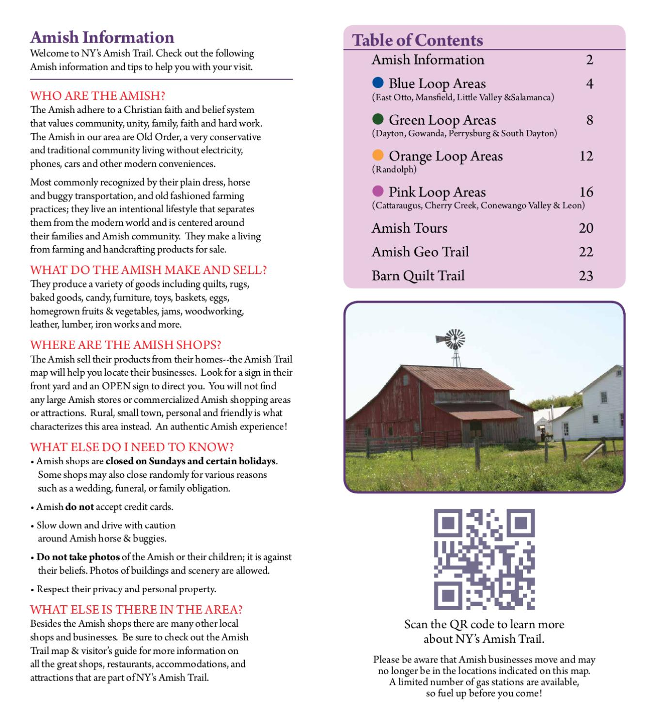 2015 ny s amish trail brochure maps by cattaraugus county  amish trail brochure map
