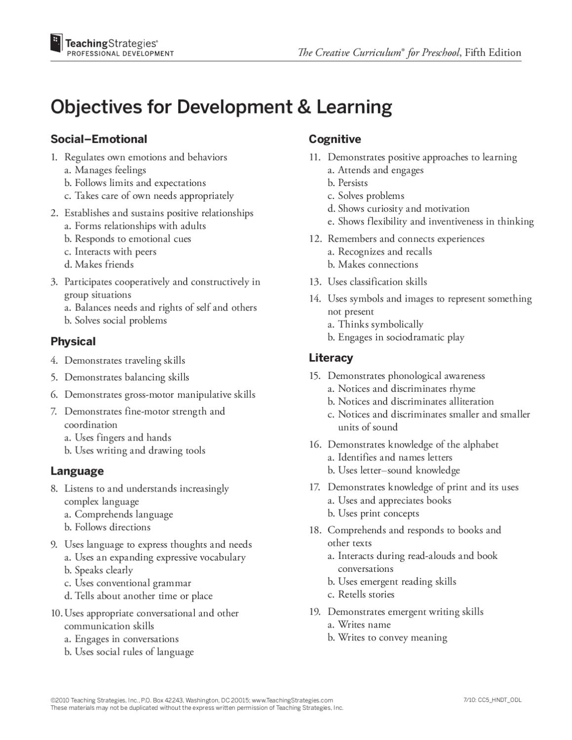 teaching strategies for preschoolers objectives development learning cc5 by bal swan children s center issuu