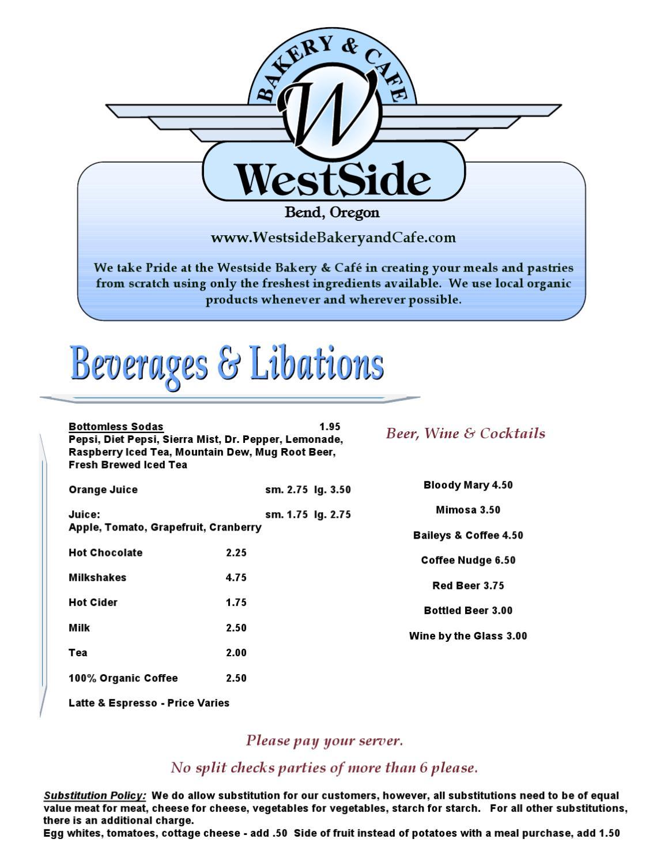 Westside Bakery Cafe Menu