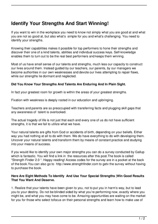 identify your strengths and start winning by richard sprawson issuu