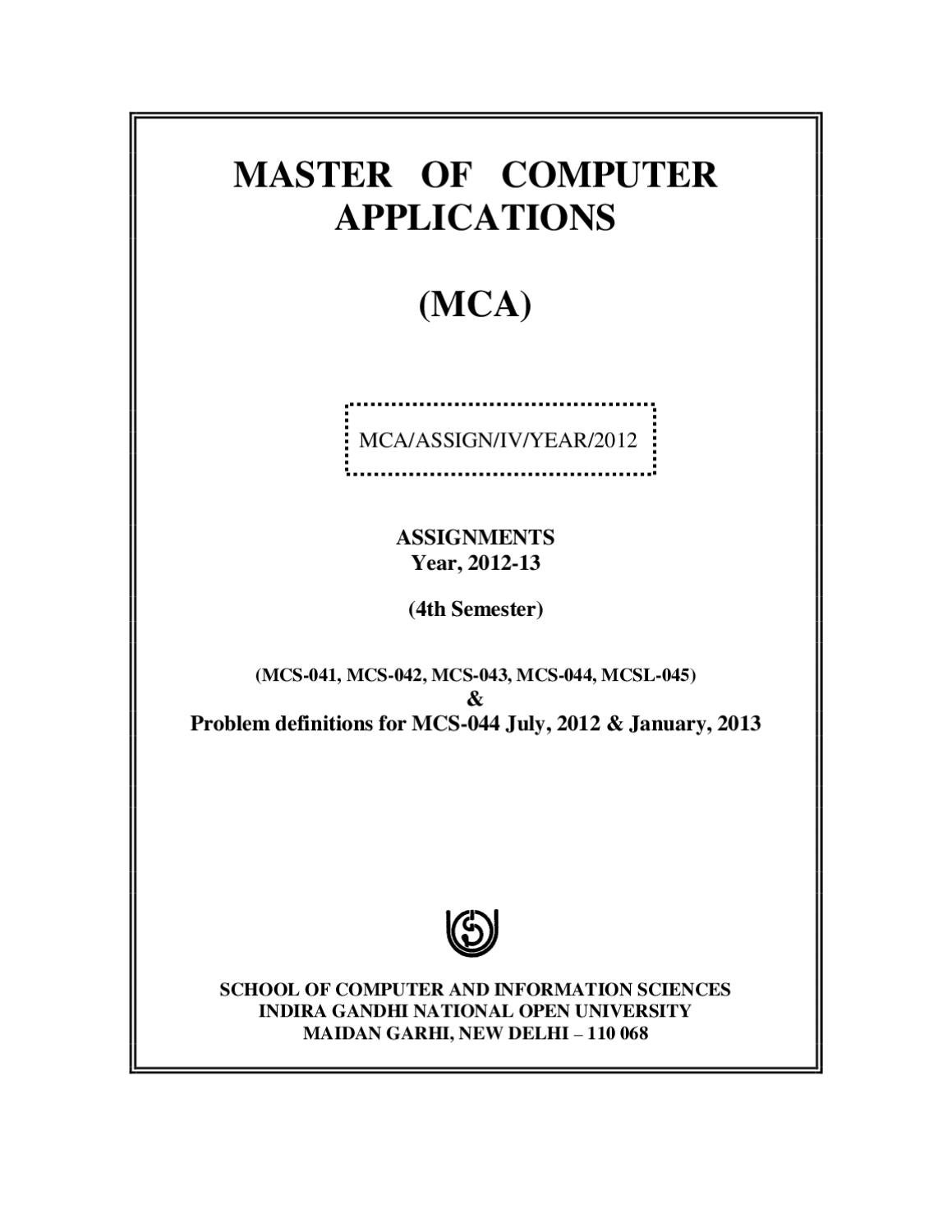 mca assignment iv sem by ignou mca issuu