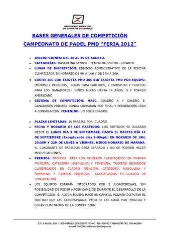 Bases Campeonato de Pádel PMD