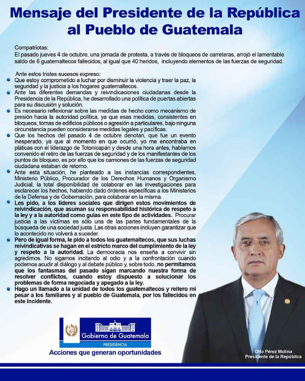 Mensaje presidente otto p rez molina by ministerio de for Ministerio de gobernacion
