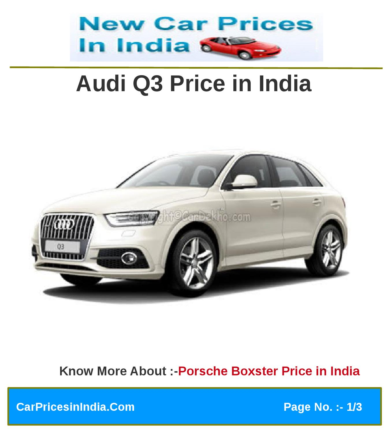 Audi Q3 Price In India By Manoj Kumar Issuu