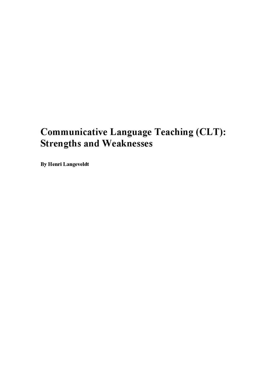 communicative language teaching clt strengths and weaknesses by communicative language teaching clt strengths and weaknesses by miriam sheen issuu