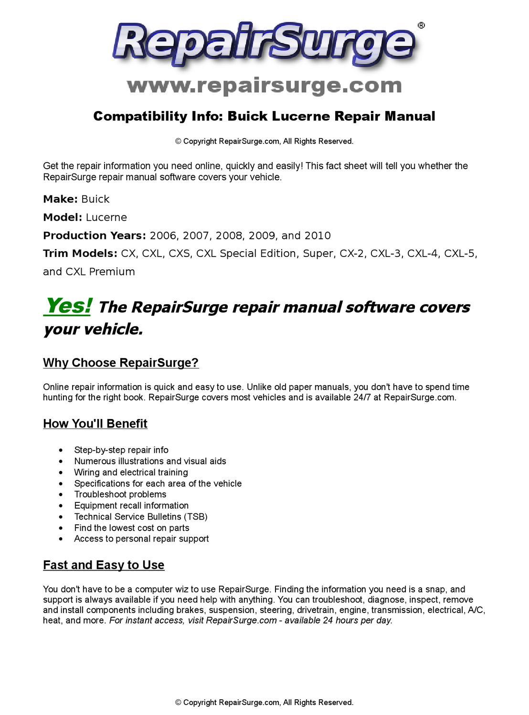 buick lucerne online repair manual for 2006 2007 2008. Black Bedroom Furniture Sets. Home Design Ideas