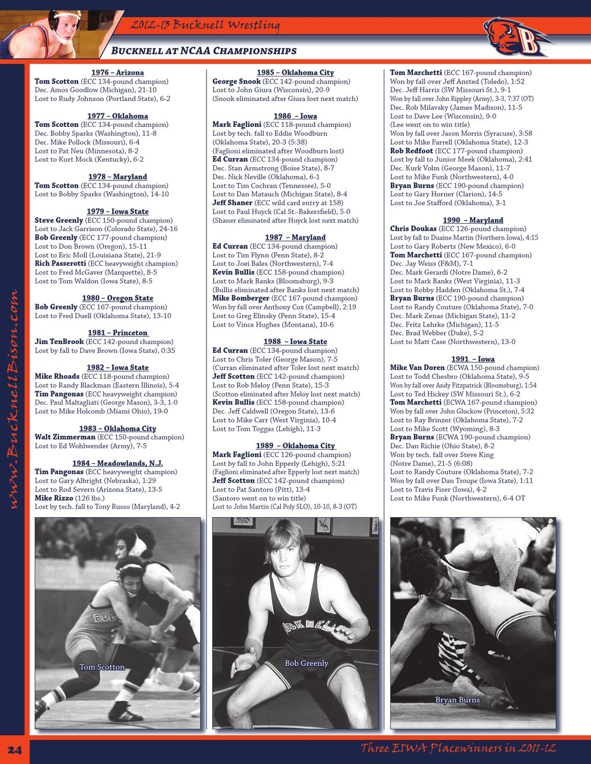 bucknell wrestling media guide by bucknell university 2012 13 bucknell wrestling media guide by bucknell university page 26 issuu