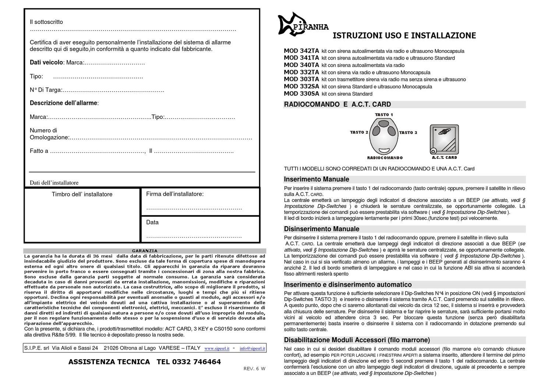 Schema Elettrico Sirena Autoalimentata : Istruzioni uso e installazione antifurto piranha by nicola