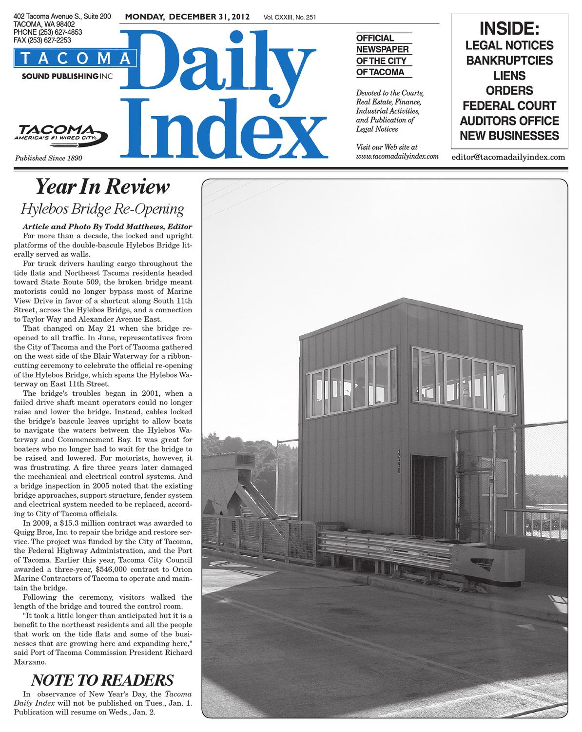 Tacoma Daily Index, December 31, 2012 by Sound Publishing ...
